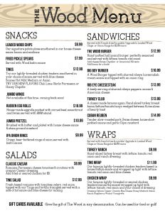 appetizers, salads, sandwiches, burgers and wraps at The Wood bar and restaurant Baldwinsville, NY